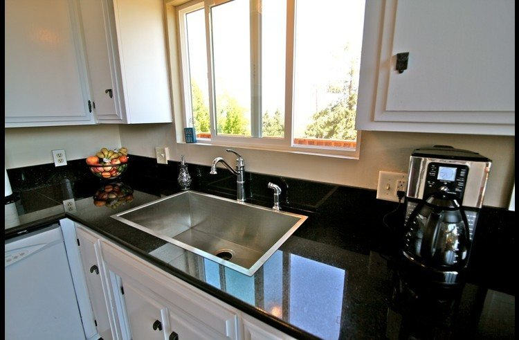 Large stainless steel sink in the kitchen