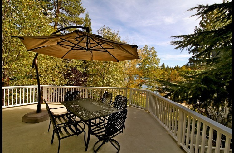 Patio furniture with large umbrella
