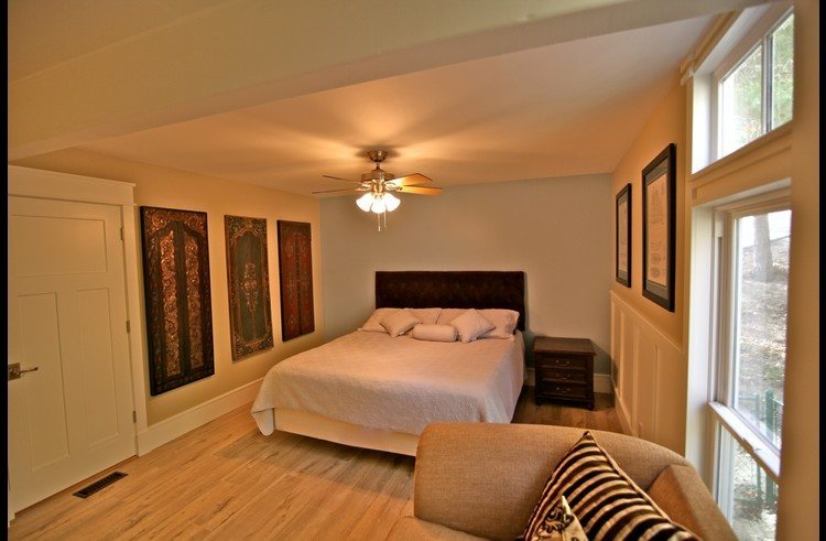 Master bedroom on main level with king size bed
