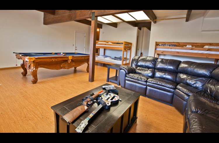Sectional sofa, pool table and 2 twin size bunk beds