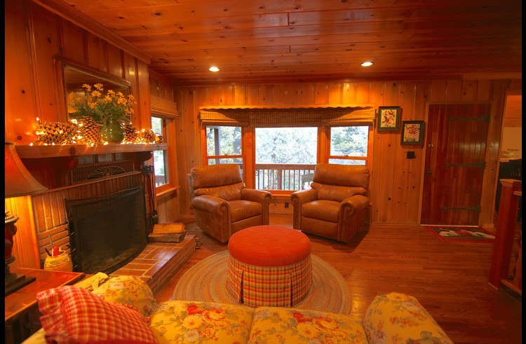 Living room with knotty pine wood walls and ceilings