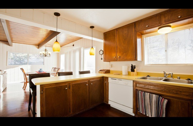 Kitchen open to dining room and living room