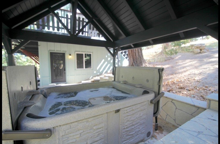 View of the house from the hot tub patio