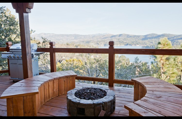 Incredible views of Lake Arrowhead sitting at the fire pit
