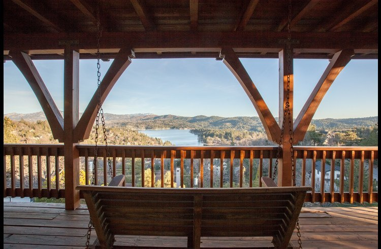 Wood swing with unobstructed views of Lake Arrowhead