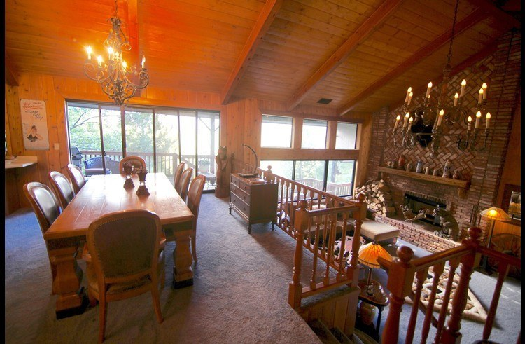 Dining room and living room on the level below