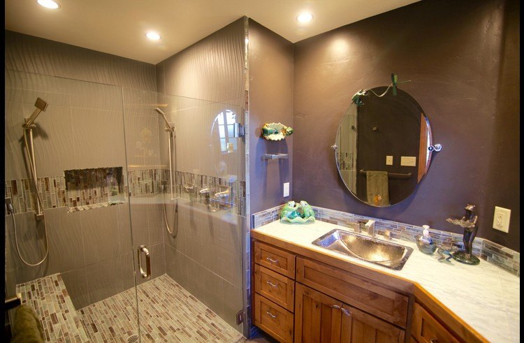 Attached master bath with custom shower