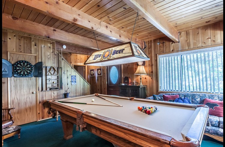Game room with full size pool table