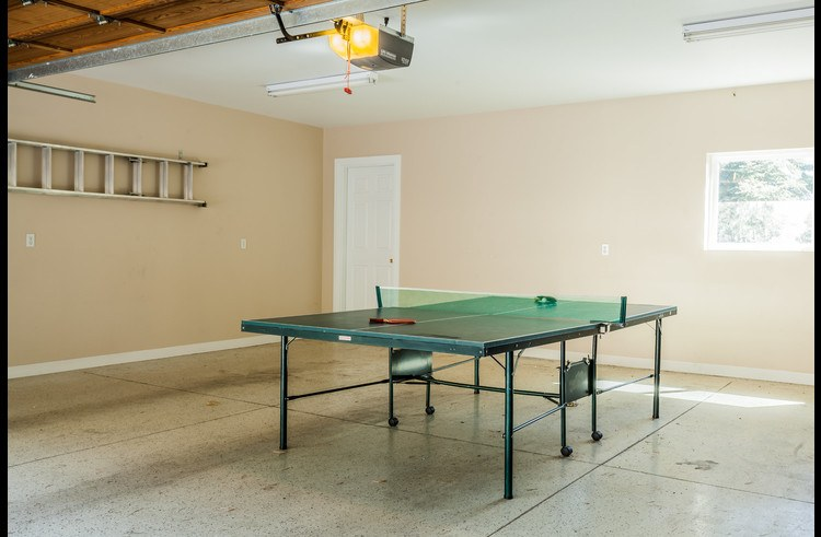 Ping Pong table in the attached 2 car garage