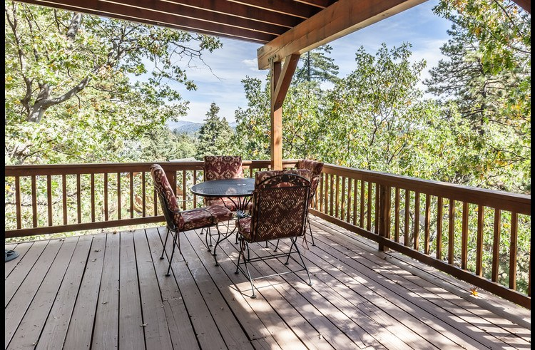 Dining table on lower level deck