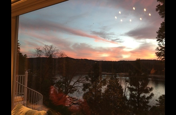 Sunset view of Lake Arrowhead from the living room