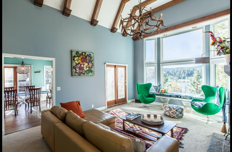 Living room with views of Lake Arrowhead