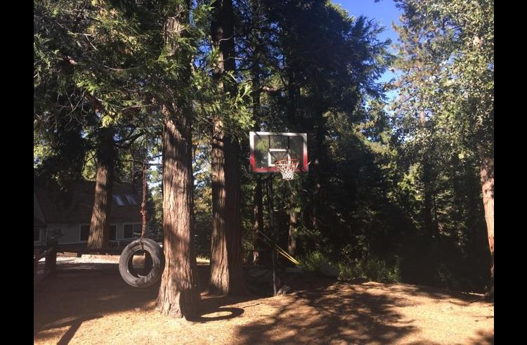 Basketball hoop on the side yard