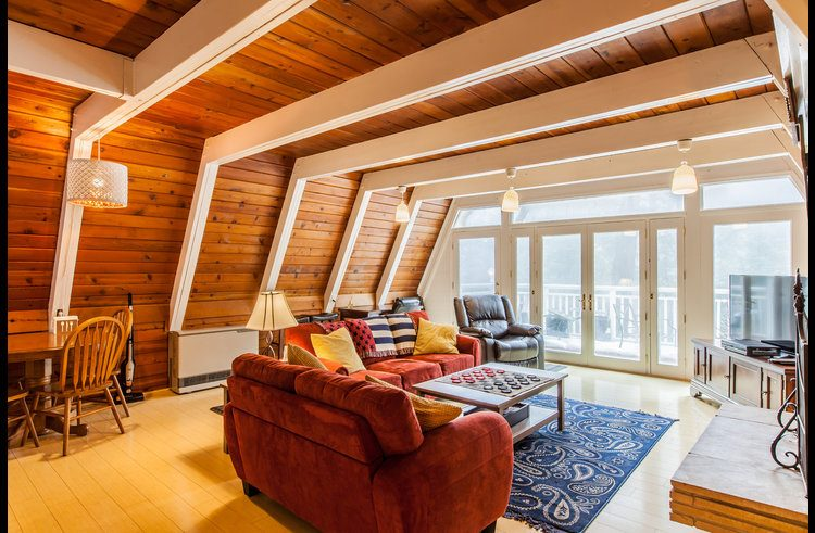 Living room with knotty pine walls and ceiling
