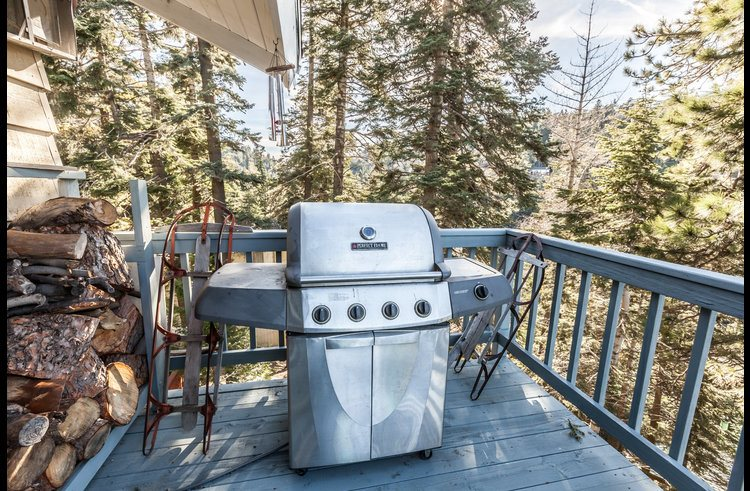 Stainless steel gas BBQ on the deck