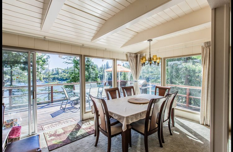 Dining room table with views of Lake Arrowhead in the background