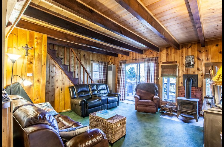 Living room surrounded with knotty pine walls