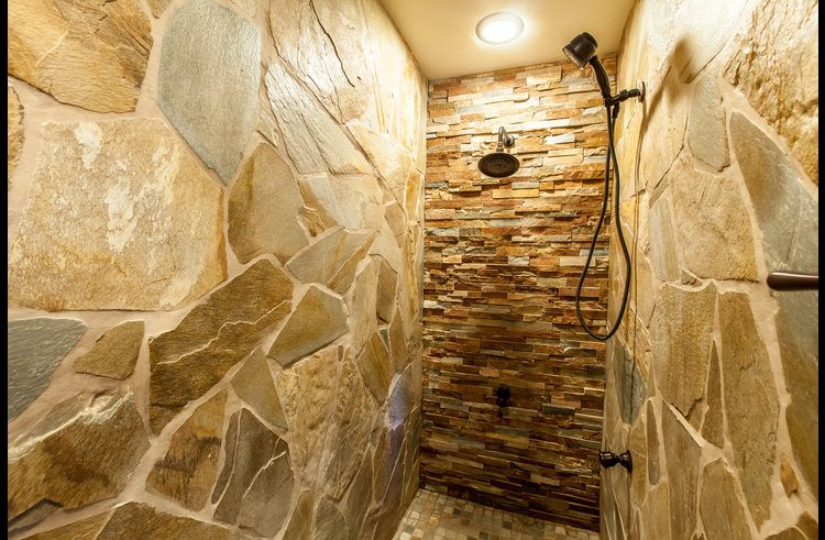 Oversized custom stone shower
