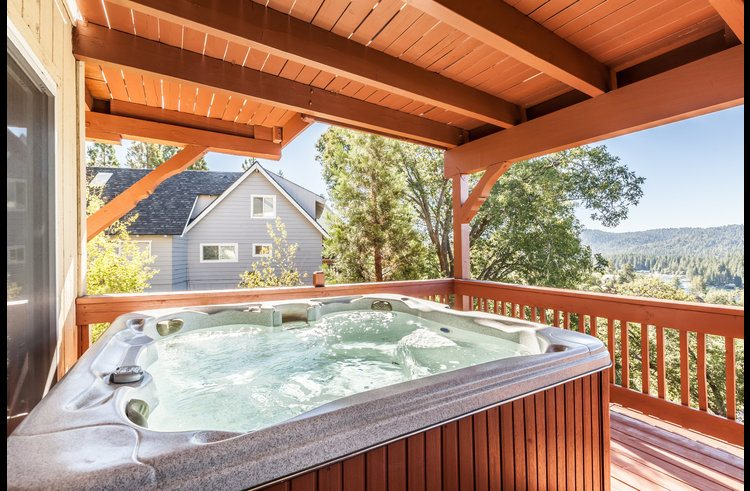 Hot tub on the middle level deck off the master suite