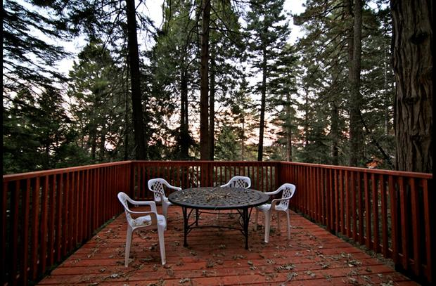 Deck off the bocce ball court with incredible views of the towering trees