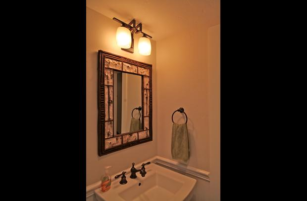 Powder bath with natural bark mirror