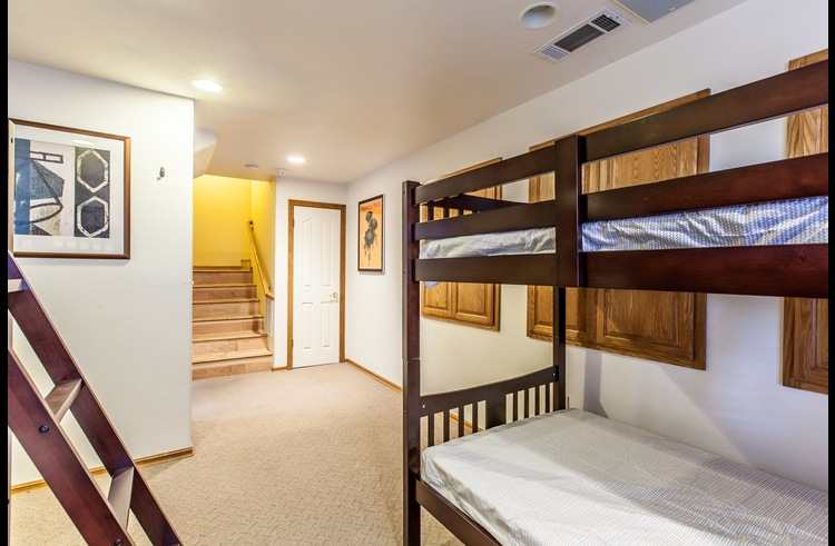 Guest room 3 on the bottom level with two twin size bunk beds