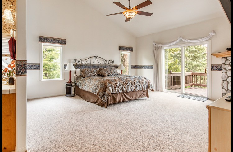 Master bedroom on entry level with walk in closet