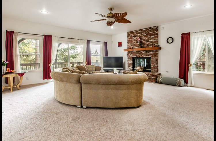 Family room on lower level with gas fireplace and TV