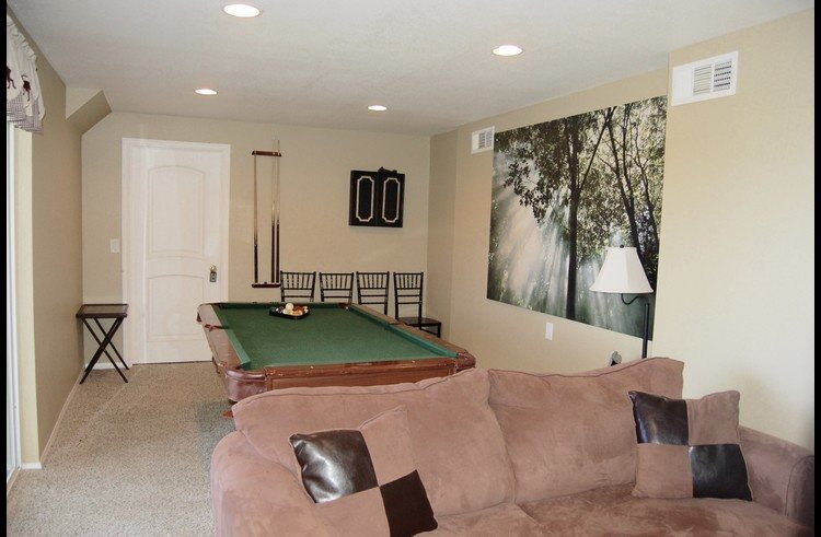 Lower level with pool table and pull out sofa bed