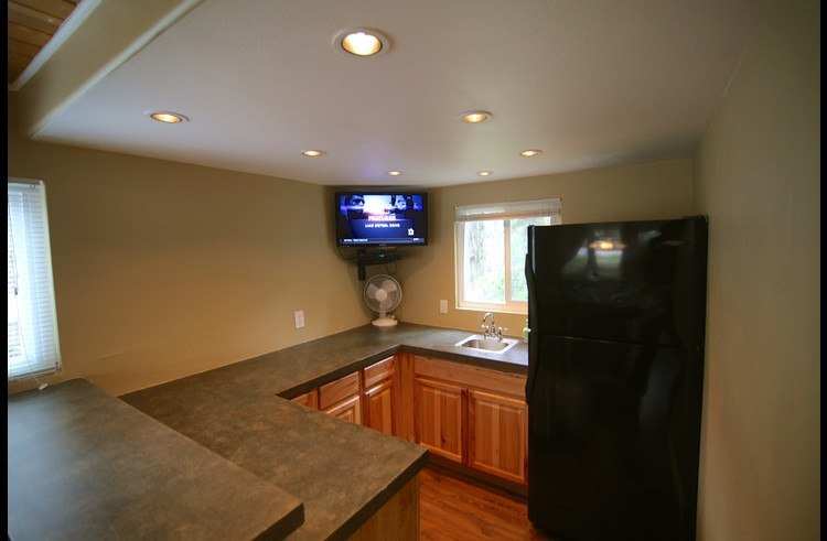 Wet bar with full size refrigerator and flat screen TV