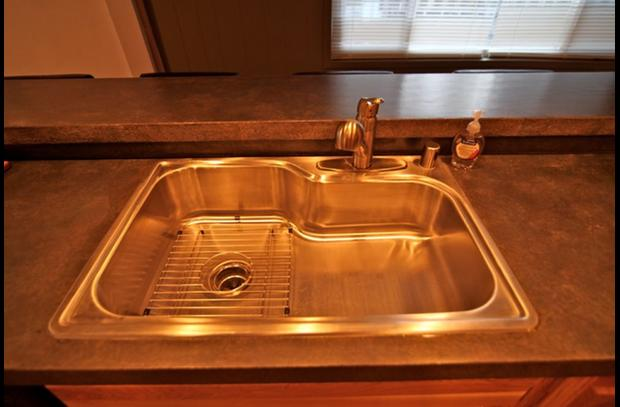 Large stainless steel basin