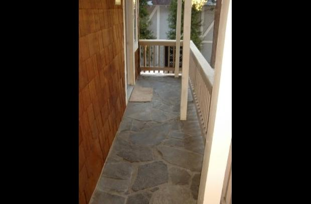 Custom stone walkway to the entry