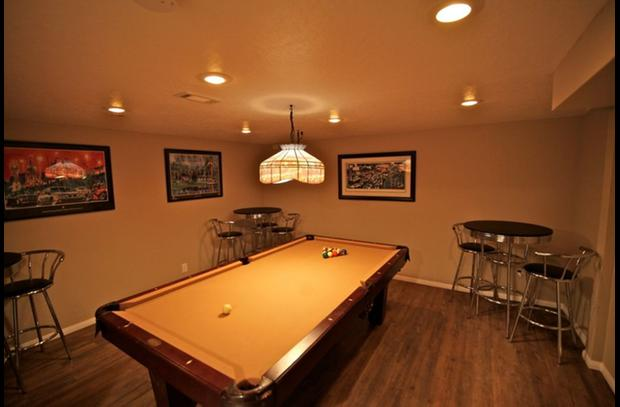 Pool room on lower level
