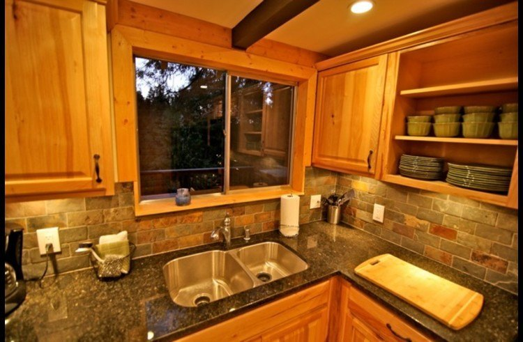 Stainless steel sink and view of the trees out the kitchen window