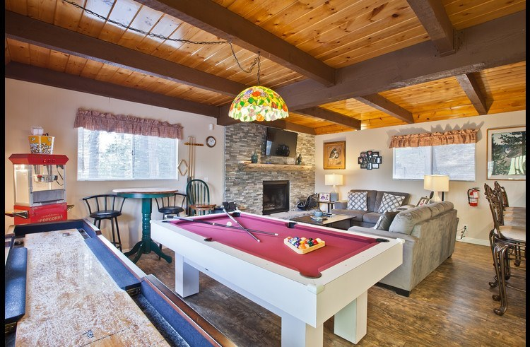 Great room with pool table and shuffle board