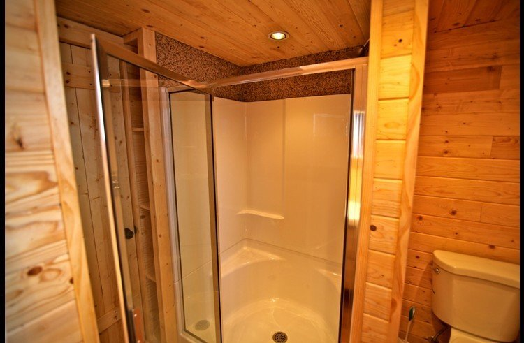 Shower in bathroom on main level