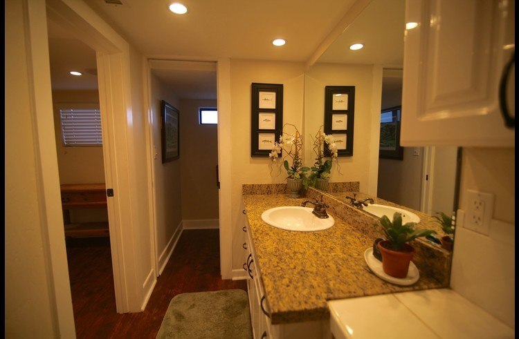 Bathroom on lower level with 3 separate areas