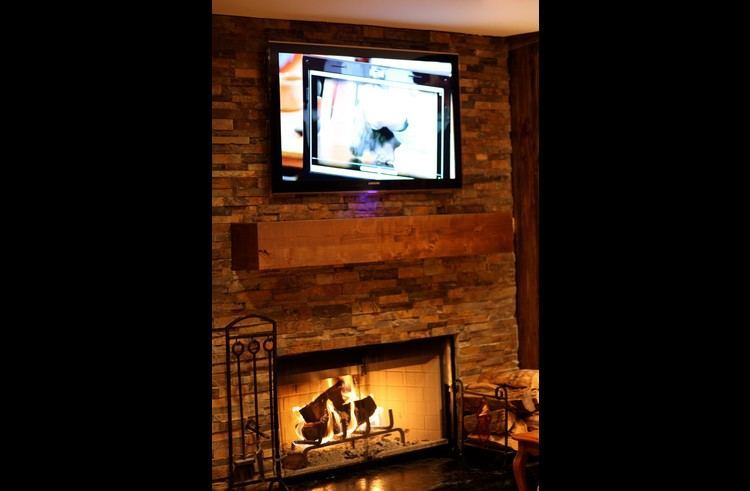 Wood burning fireplace in the family room