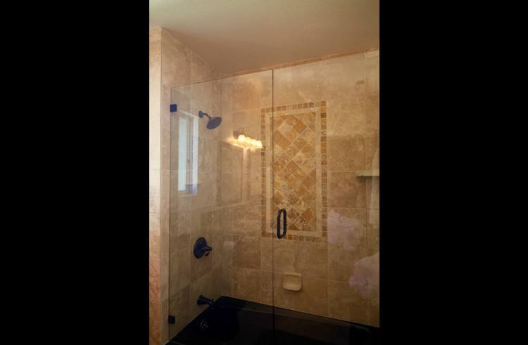 Full master tub/shower with custom stone