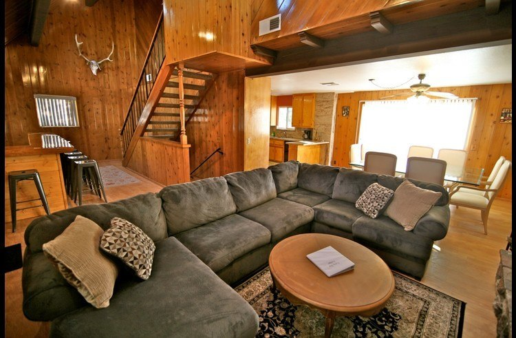 Large sectional sofa to relax fireside in the family room