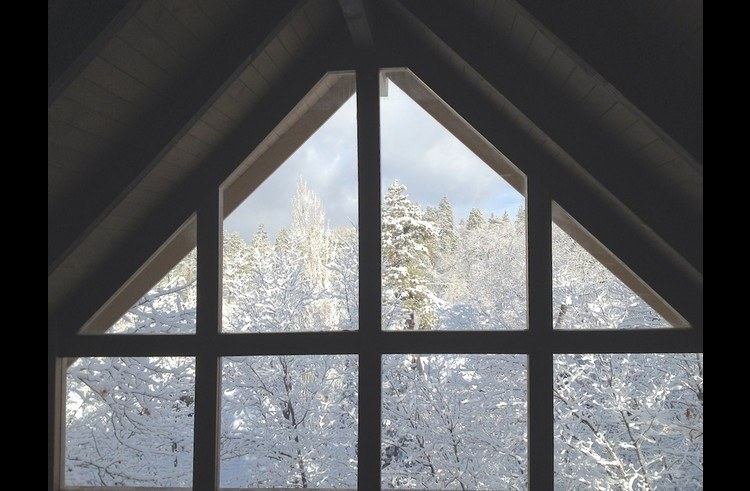 View of snow filled trees through the A frame