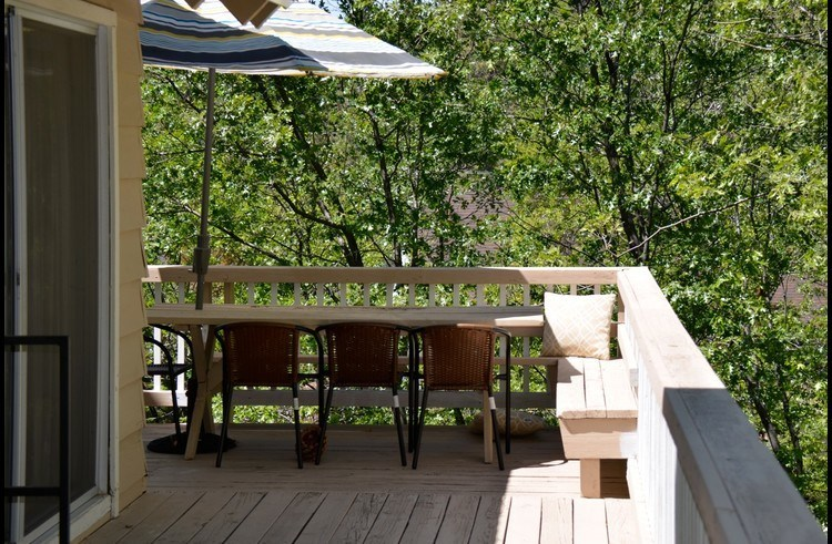 Shaded dining area on the deck