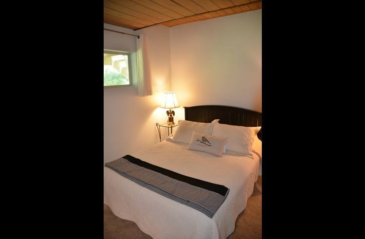 Guest room 2 on lower level with queen bed