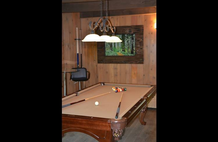 Pool table on the lower level