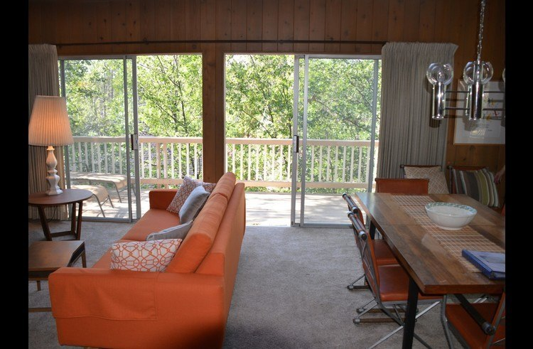 Sliding doors leading to the deck off the living room