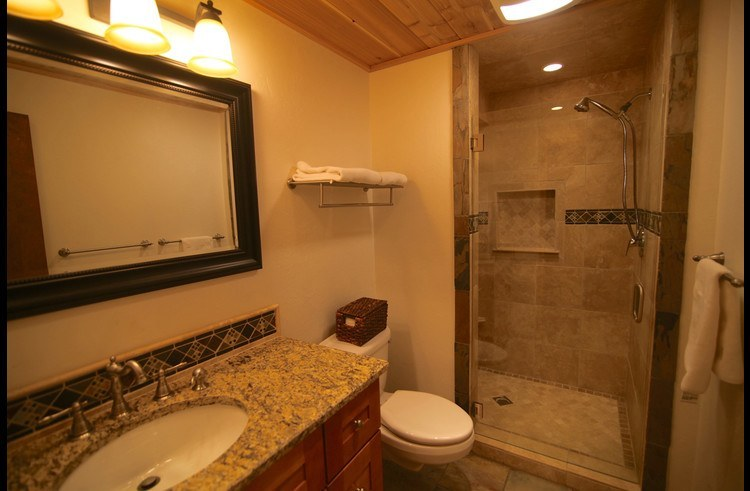 Bathroom with  custom shower on the lower level
