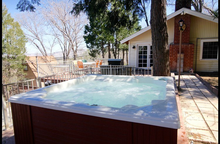 Enjoy the outdoors sitting in the hot tub